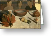 Hunger Greeting Cards - The Meal Greeting Card by Paul Gauguin