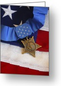 Award Photo Greeting Cards - The Medal Of Honor Rests On A Flag Greeting Card by Stocktrek Images