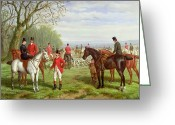 Riders Greeting Cards - The Meet Greeting Card by Edward Benjamin Herberte