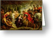 Soldier Photo Greeting Cards - The Meeting of David and Abigail Greeting Card by Peter Paul Rubens