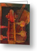 Classical Music Art Greeting Cards - The Mellow Cello Greeting Card by Susanne Clark