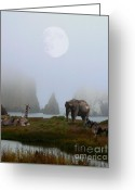 Elk Greeting Cards - The Menagerie Greeting Card by Wingsdomain Art and Photography