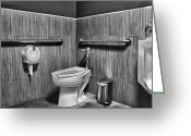 White Greeting Cards - The Mens Room Greeting Card by Bob Orsillo