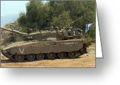Battle Tanks Greeting Cards - The Merkava Mark Iv Main Battle Tank Greeting Card by Andrew Chittock