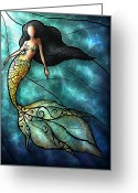 Enchanting Greeting Cards - The Mermaid Greeting Card by Mandie Manzano