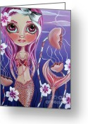 Childs Greeting Cards - The Mermaids Garden Greeting Card by Jaz Higgins