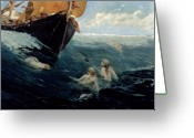 Edward Greeting Cards - The Mermaids Rock Greeting Card by Edward Matthew Hale