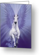 Horses Pastels Greeting Cards - The Messenget Greeting Card by Kim McElroy