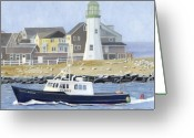 New England Lighthouse Greeting Cards - The Michael Brandon Greeting Card by Dominic White