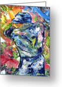 Athletic Painting Greeting Cards - The Mick Mickey Mantle Greeting Card by Ash Hussein