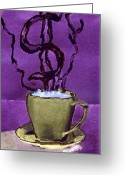 Daydream Mixed Media Greeting Cards - The Midas Cup Greeting Card by Paula Ayers
