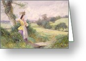Shepherdess Painting Greeting Cards - The Milkmaid Greeting Card by Myles Birket Foster