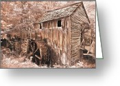 Old Farms Greeting Cards - The Mill at Cades Cove Greeting Card by Debra and Dave Vanderlaan