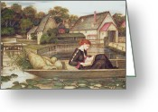 Fence Gate Greeting Cards - The Mill Greeting Card by John Roddam Spencer Stanhope