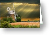 Threatening Greeting Cards - The Mill On The Marsh Greeting Card by Meirion Matthias