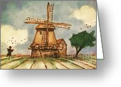 Windmill Mixed Media Greeting Cards - The Mill Greeting Card by Zbigniew Rusin