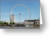 Arts Culture And Entertainment Greeting Cards - The Millennium Wheel And Thames Greeting Card by Richard Newstead