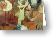 Craft Pastels Greeting Cards - The Millinery Shop Greeting Card by Edgar Degas