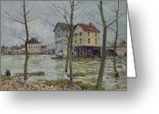 French Landscape Greeting Cards - The Mills at Moret sur Loing Greeting Card by Alfred Sisley