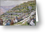 Feeding Painting Greeting Cards - The Miracle of the Loaves and Fishes Greeting Card by Tissot