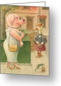 Pig Greeting Cards - The Missing Picture02 Greeting Card by Kestutis Kasparavicius