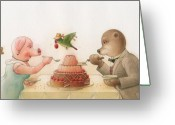 Pig Greeting Cards - The Missing Picture12 Greeting Card by Kestutis Kasparavicius