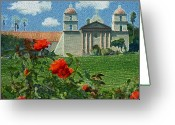 Santa Barbara Digital Art Greeting Cards - The Mission Santa Barbara Greeting Card by Kurt Van Wagner