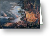 Aflame Greeting Cards - The Mississippi in Time of War Greeting Card by Frances Flora Bond Palmer