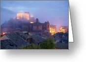 Battlement Greeting Cards - The Mists of Soriano Greeting Card by Ellen Henneke