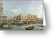Canals Painting Greeting Cards - The Molo and the Piazzetta San Marco Greeting Card by Canaletto