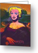 Marylin Greeting Cards - The Mona Marilyn Greeting Card by Colin Hurley