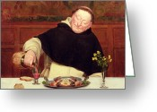 Pouring Greeting Cards - The Monks Repast Greeting Card by Walter Dendy Sadler