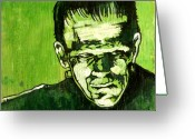 Frankenstein Greeting Cards - The Monster Frankenstein Greeting Card by Christopher  Chouinard