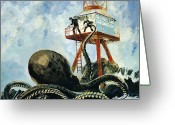 Squid Greeting Cards - The monster of Serrana Cay Greeting Card by Graham Coton