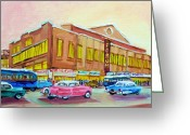 Center City Painting Greeting Cards - The Montreal Forum Greeting Card by Carole Spandau