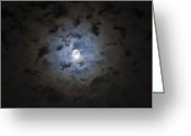 Ghostly Greeting Cards - The Moon Covered By A Layer Of Clouds Greeting Card by Miguel Claro