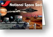 Astronomical Digital Art Greeting Cards - The Moon Mars and Beyond Greeting Card by Bill Wright