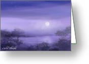 Moon Set Greeting Cards - The Moon Will Set Greeting Card by Leslie Rhoades