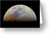 Lunar Mare Greeting Cards - The Moon With The Transient Lunar-x Greeting Card by Luis Argerich