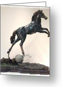 Nature Sculpture Greeting Cards - The Moonhorse Bronze Greeting Card by Dawn Senior-Trask