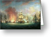 Galleons Greeting Cards - The Moonlight Battle Greeting Card by Richard Paton
