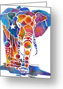 Zoo Greeting Cards - The Most Whimsical Elephant Greeting Card by Jo Lynch