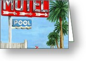 Debbie Brown Greeting Cards - The Motel Sign Greeting Card by Debbie Brown