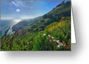 Menschenleer Greeting Cards - The mountains of Highway Nr. 1 - California Greeting Card by Andreas Freund