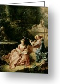 Music Teacher Greeting Cards - The Music Lesson Greeting Card by Francois Boucher