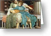 Playing The Guitar Greeting Cards - The Music Lesson Greeting Card by Frederic Leighton