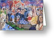 Fireworks Painting Greeting Cards - The Music Never Stopped Greeting Card by Bryan Bustard