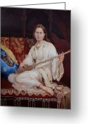 Oil Painting Greeting Cards - The Musician Greeting Card by Enzie Shahmiri