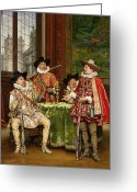 Adolphe Greeting Cards - The Musketeers Tale Greeting Card by Adolphe Alexandre Lesrel