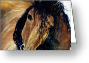 Quarter Horses Greeting Cards - The Mustang Greeting Card by Lil Taylor